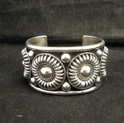 Image 3 of Native American Navajo Thomas & Colton Charley Sterling Silver Concho Bracelet