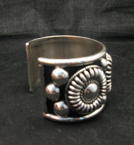 Image 2 of Native American Navajo Thomas & Colton Charley Sterling Silver Concho Bracelet