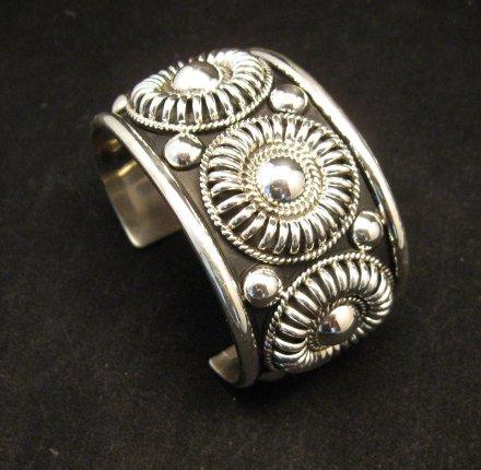 Image 4 of Native American Navajo Thomas & Colton Charley Sterling Silver Concho Bracelet