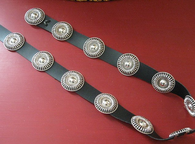 Image 3 of Thomas Charley Navajo Sterling Silver Concho Belt
