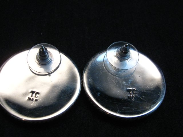 Image 3 of Native American Navajo Thomas Tom Charley Sterling Silver Concho Earrings