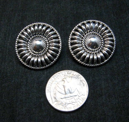Image 2 of Native American Navajo Thomas Tom Charley Sterling Silver Concho Earrings