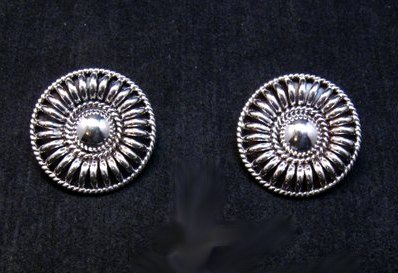 Image 1 of Native American Navajo Thomas Tom Charley Sterling Silver Concho Earrings