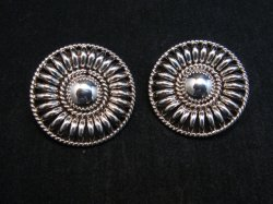Native American Navajo Thomas Tom Charley Sterling Silver Concho Earrings