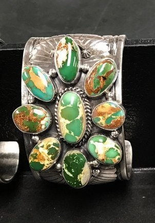 Image 1 of A++ Navajo Native American Royston Turquoise Cluster Bracelet, Gilbert Tom