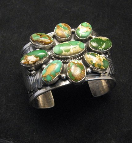 Image 6 of A++ Navajo Native American Royston Turquoise Cluster Bracelet, Gilbert Tom