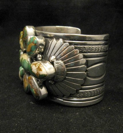 Image 3 of A++ Navajo Native American Royston Turquoise Cluster Bracelet, Gilbert Tom