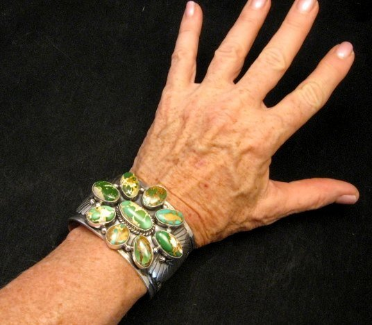 Image 5 of A++ Navajo Native American Royston Turquoise Cluster Bracelet, Gilbert Tom