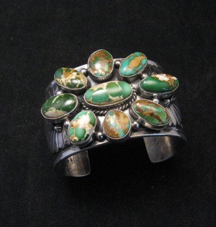 Image 0 of A++ Navajo Native American Royston Turquoise Cluster Bracelet, Gilbert Tom