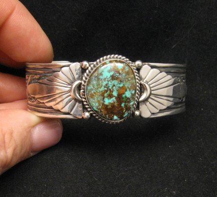 Image 0 of Navajo Gilbert Tom Old Pawn Style Turquoise Silver Bracelet