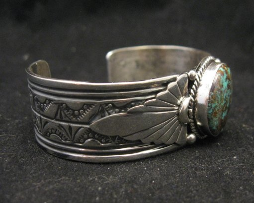Image 1 of Navajo Gilbert Tom Old Pawn Style Turquoise Silver Bracelet