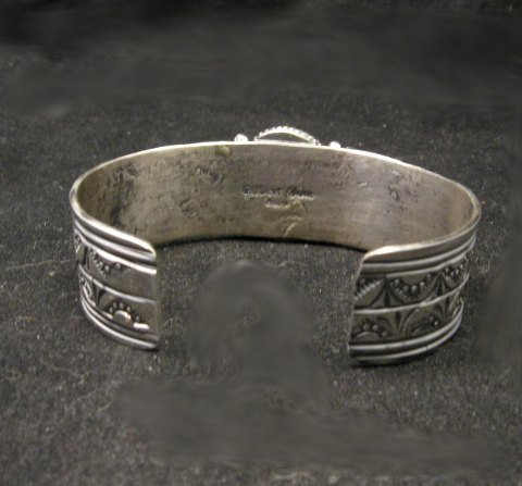 Image 3 of Navajo Gilbert Tom Old Pawn Style Turquoise Silver Bracelet
