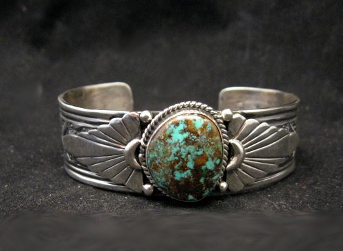 Image 4 of Navajo Gilbert Tom Old Pawn Style Turquoise Silver Bracelet
