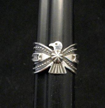 Image 0 of Darrell Cadman Navajo Old Pawn Style Thunderbird Silver Ring sz7