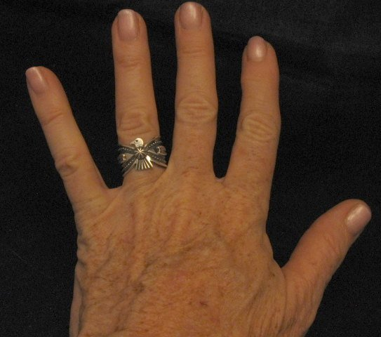 Image 3 of Darrell Cadman Navajo Old Pawn Style Thunderbird Silver Ring sz7