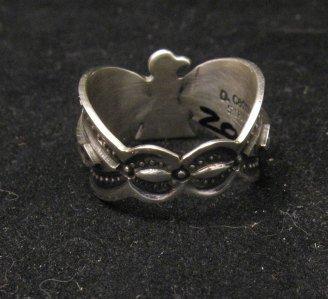 Image 1 of Darrell Cadman Navajo Revival Style Thunderbird Silver Unisex Ring sz9