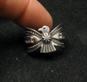 Image 2 of Darrell Cadman Navajo Revival Style Thunderbird Silver Unisex Ring sz9