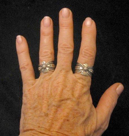 Image 5 of Darrell Cadman Navajo Revival Style Thunderbird Silver Unisex Ring sz9