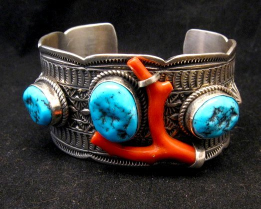 Image 7 of Navajo Native American Sleeping Beauty Turquoise Coral Bracelet, Tillie Jon