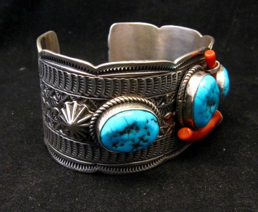 Image 2 of Navajo Native American Sleeping Beauty Turquoise Coral Bracelet, Tillie Jon