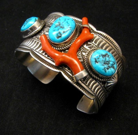 Image 3 of Navajo Native American Sleeping Beauty Turquoise Coral Bracelet, Tillie Jon