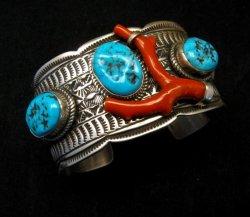 Navajo Native American Sleeping Beauty Turquoise Coral Bracelet, Tillie Jon