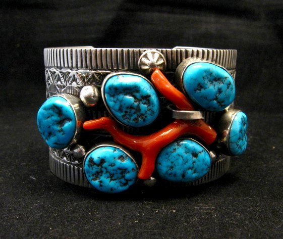 Image 1 of Wide Navajo Native American Sleeping Beauty Turquoise Coral Bracelet, Tillie Jon