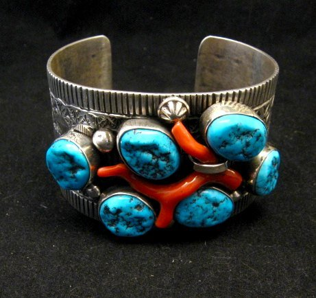 Image 2 of Wide Navajo Native American Sleeping Beauty Turquoise Coral Bracelet, Tillie Jon