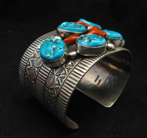 Image 3 of Wide Navajo Native American Sleeping Beauty Turquoise Coral Bracelet, Tillie Jon