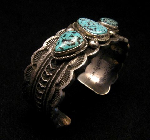 Image 1 of Navajo Indian Native American Turquoise Silver Bracelet, Joey Allen