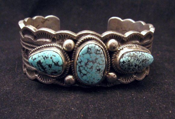 Image 0 of Navajo Indian Native American Turquoise Silver Bracelet, Joey Allen