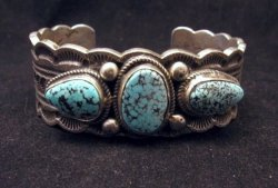 Navajo Indian Native American Turquoise Silver Bracelet, Joey Allen