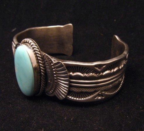 Image 2 of Navajo Native American Indian Royston Turquoise Sterling Bracelet Garret Hale
