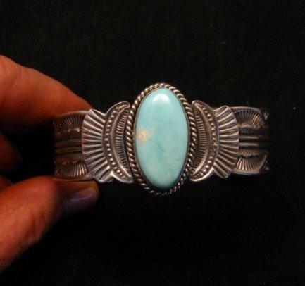 Image 5 of Navajo Native American Indian Royston Turquoise Sterling Bracelet Garret Hale