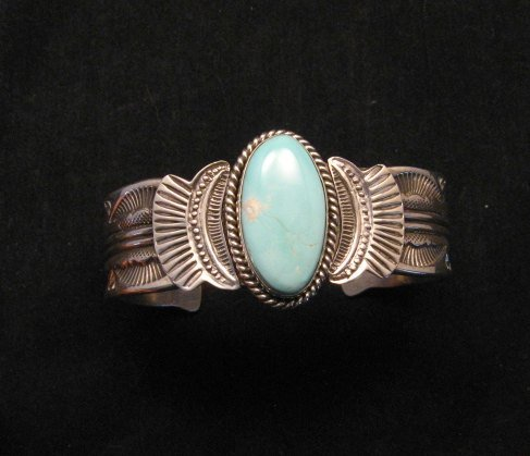 Image 0 of Navajo Native American Indian Royston Turquoise Sterling Bracelet Garret Hale
