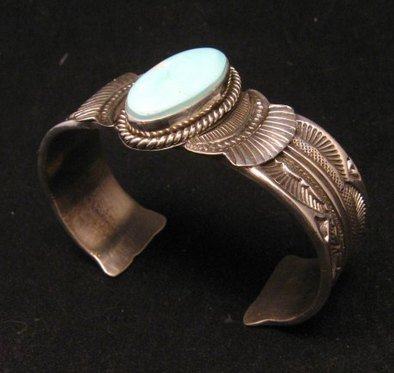 Image 1 of Navajo Native American Indian Royston Turquoise Sterling Bracelet Garret Hale