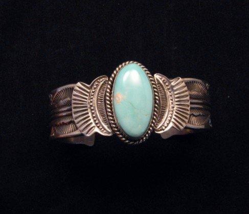 Image 0 of Navajo Native American Indian Royston Turquoise Sterling Bracelet Garret Hale