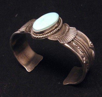 Image 1 of Navajo Native American Indian Royston Turquoise Sterling Bracelet Garret Hale