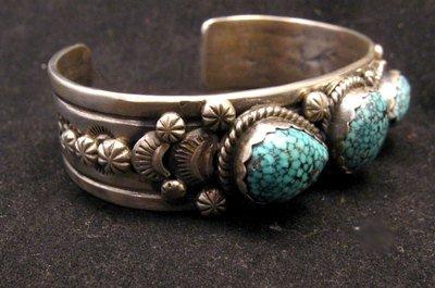 Image 3 of Navajo Native American Kingman Web Turquoise Bracelet, Gilbert Tom