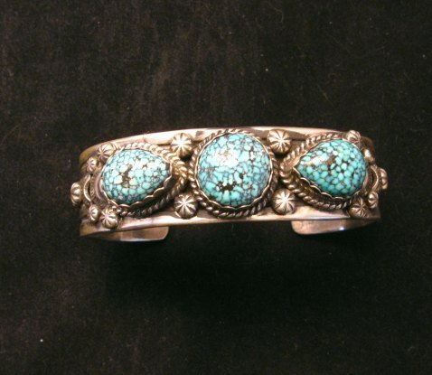 Image 6 of Navajo Native American Kingman Web Turquoise Bracelet, Gilbert Tom