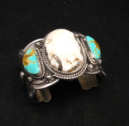 Image 2 of Navajo Old Pawn Style White Buffalo & Royston Turquoise Bracelet by Gilbert Tom