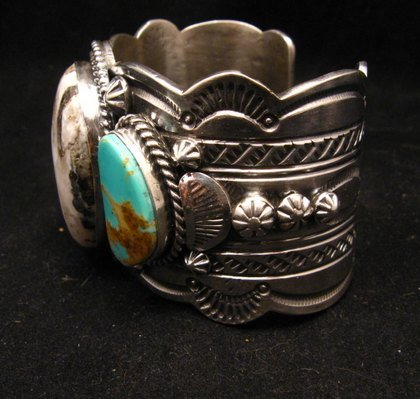 Image 5 of Navajo Old Pawn Style White Buffalo & Royston Turquoise Bracelet by Gilbert Tom