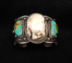 Navajo Old Pawn Style White Buffalo & Royston Turquoise Bracelet by Gilbert Tom