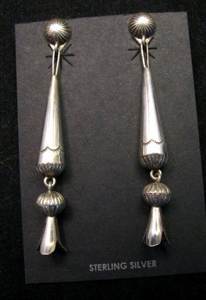 Image 0 of Long Doris Smallcanyon Native American Navajo Silver Squash Blossom Earrings