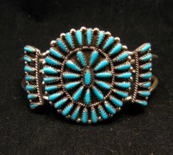 Zuni Indian Jewelry Turquoise Petitpoint Cluster Silver Bracelet, Judy Wallace