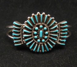 Zuni Petit Point Cuff Bracelet Shirley Lahi Sleeping Beauty Turquoise Cluster