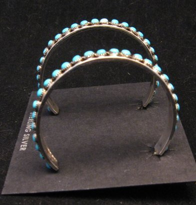 Image 2 of Big Zuni Sleeping Beauty Turquoise Sterling Silver Hoop Earrings, Lois Tzuni
