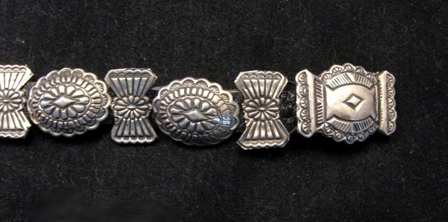 Image 3 of Dead Pawn Navajo Sterling Silver Stamped Concho Bracelet