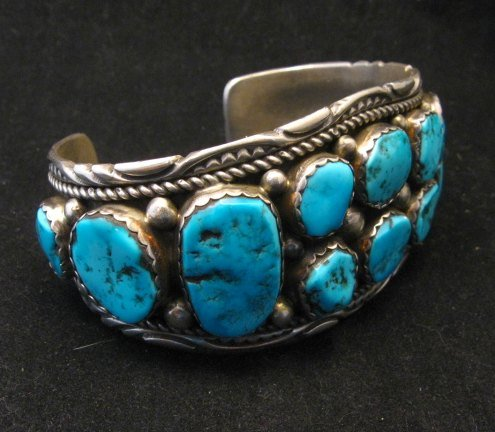 Image 1 of Quality Dead Pawn Native American Navajo Turquoise Cuff Bracelet