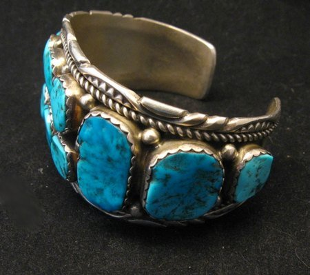 Image 2 of Quality Dead Pawn Native American Navajo Turquoise Cuff Bracelet